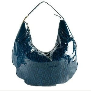 Gucci Glam Patent Leather Horsebit Hobo in Teal